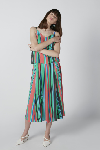 Striped Top with V-neck and Adjustable Straps