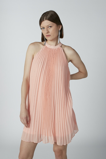 Pleated A-Line Midi Dress with Tie Ups