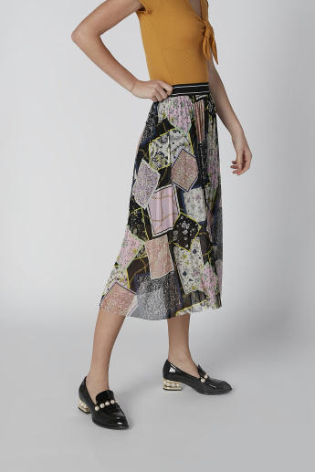 Printed Midi A-Line Skirt with Elasticised Waistband