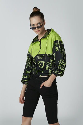 Printed Bomber Jacket with Long Sleeves and Hood