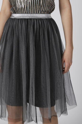 Midi A-Line Lace Skirt with Elasticised Waistband