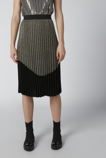 Textured Midi Skirt with Pleats