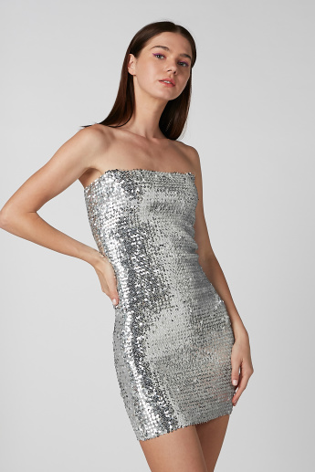 Sequin Mini Bodycon Strapless Dress
