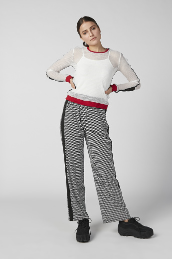 Full Length Chequered Pants with Tape and Pocket Detail