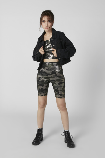 Camouflage Printed Crop Top with Adjustable Spaghetti Straps