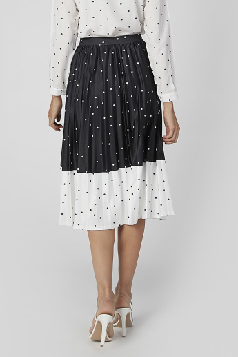 Polka Dot Printed Midi A-line Skirt with Elasticised Waistband