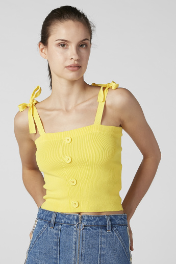 Ribbed Cami Top with Button Detail and Tie Up Straps