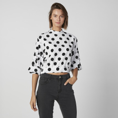 Polka Dot Crop Printed Top with High Neck and Ruffle Detail