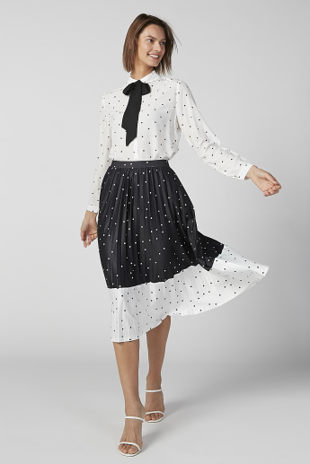 Polka Dot Printed Shirt with Long Sleeves and Tie Up Bow Detail