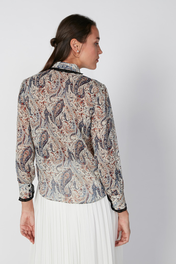 Paisley Printed Shirt with Long Sleeves and Concealed Placket