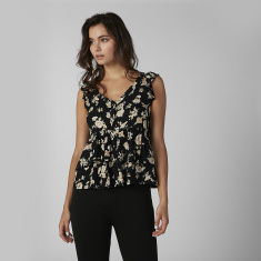 Printed Sleeveless Peplum Top with V-neck