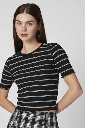Striped Crop T-shirt with Round Neck and Short Sleeves