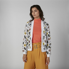 Floral Printed Jacket with Cuffed Long Sleeves