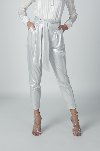 Metallic Trousers with Tie Ups and Pocket Detail