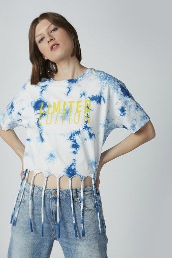 Printed T-shirt with Short Sleeves and Fringes
