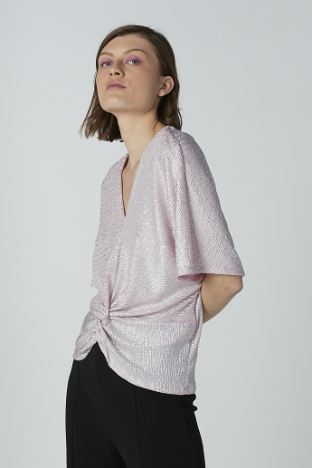 Textured Top with Twist Detail and V-neck