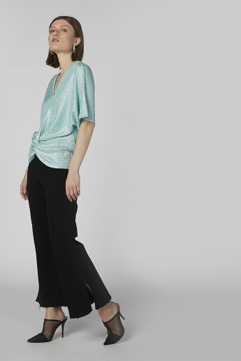 Textured V-Neck Top with Short Sleeves and Twist Detail