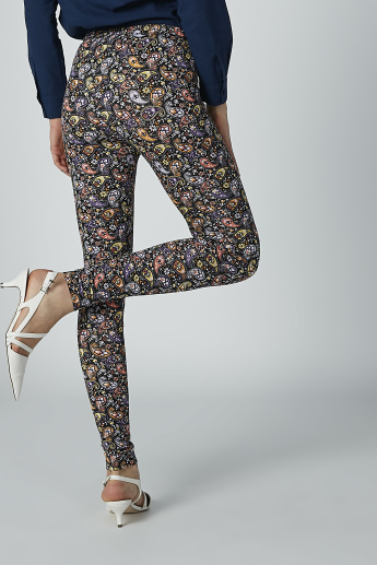 Printed Treggings with Elasticised Waistband