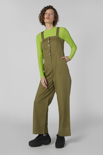 Sleeveless Square Neck Jumpsuit with Button Closure
