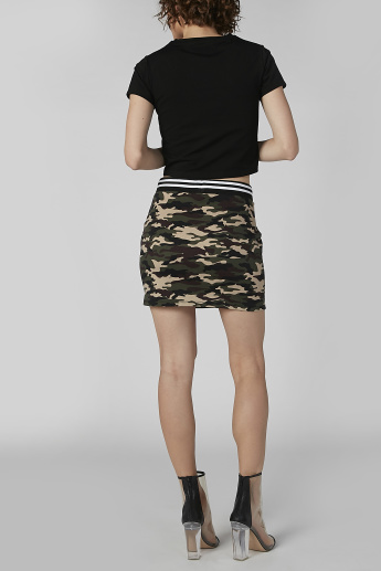 Camouflage Print A-Line Mini Skirt