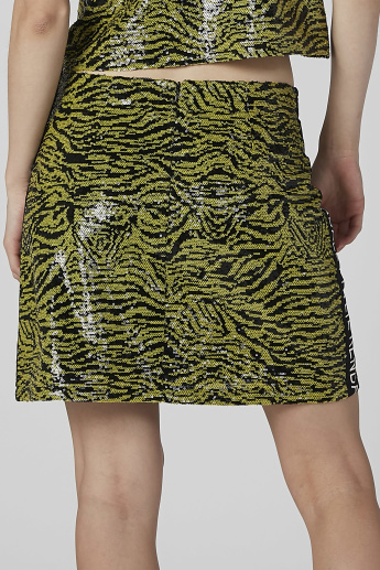 Animal Print Mini Skirt with Contrast Taping