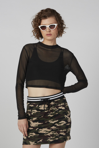 Solid Crop Top with Crew Neck and Long Sleeves