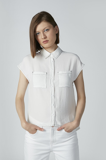 Plain Shirt with Cap Sleeves and Chest Pocket