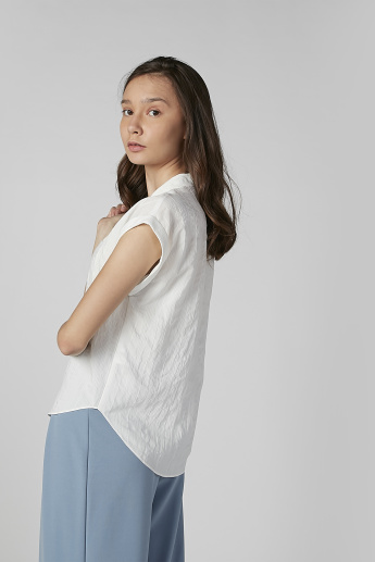 Striped Shirt with Extended Cap Sleeves and Spread Collar