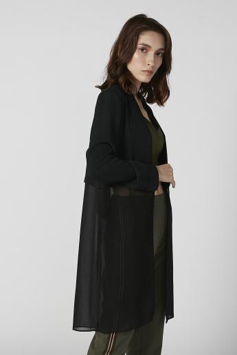 Textured Longline Coat with Shawl Neck and Long Sleeves