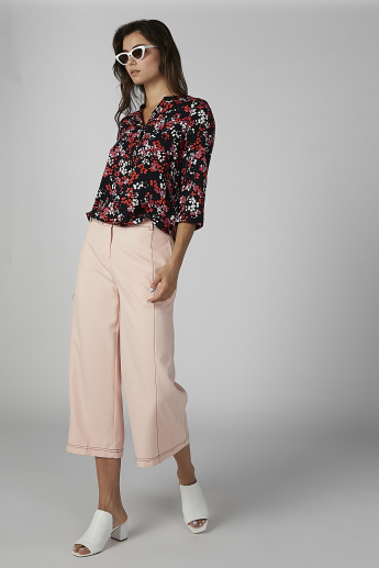 Plain Mid Waist Culottes with Pocket Detail and Belt Loops