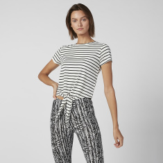 Striped Crop T-shirt with Short Sleeves and Tie Ups