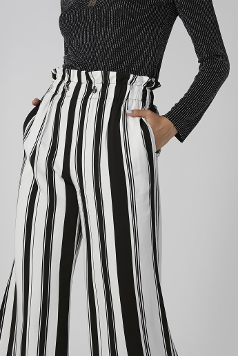 Wide Fit Striped Palazzo Pants with Pocket Detail