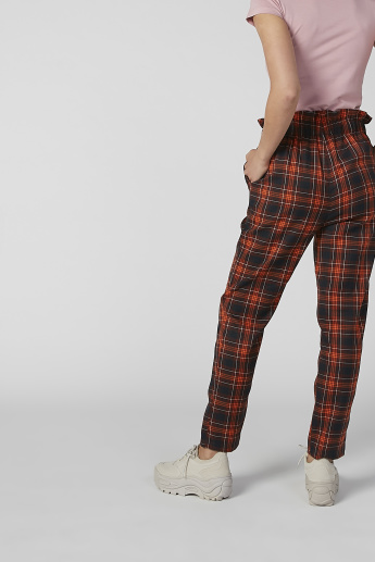 Full Length Chequered Pants with Paper Bag Waist and Pocket Detail