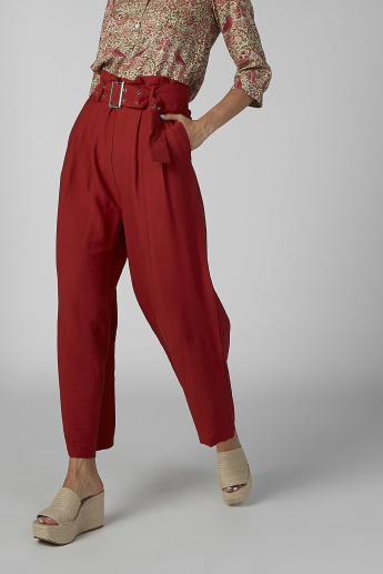 Plain Paper Bag Culottes with Pocket Detail and Belt Loops