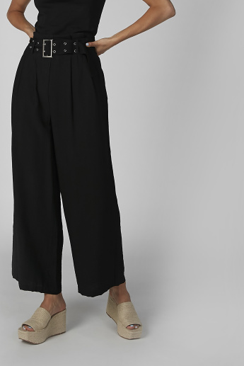 Plain Palazzo Pants with Pocket Detail and Belt Loops