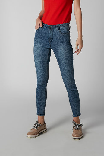 Printed Jeans with Pocket Detail and Belt Loops