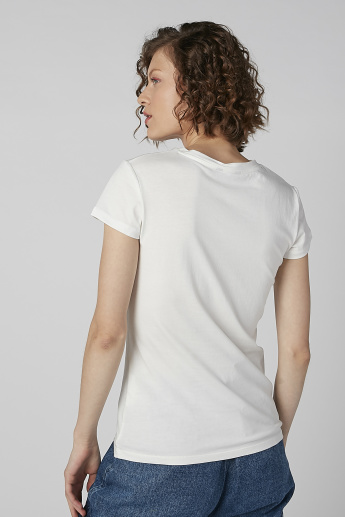 Text Print Round Neck Top with Cap Sleeves