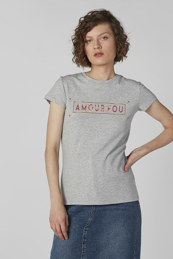Typographic Printed T-shirt with Round Neck and Cap Sleeves