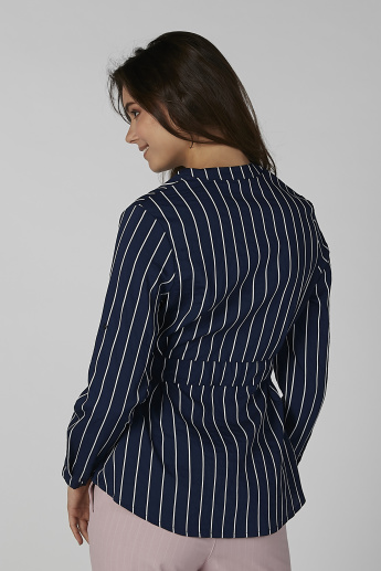 Striped Long Sleeves Shirt with Mandarin Collar and Tie Ups