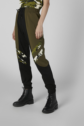 Printed Jogger Pants with Camouflage Panels