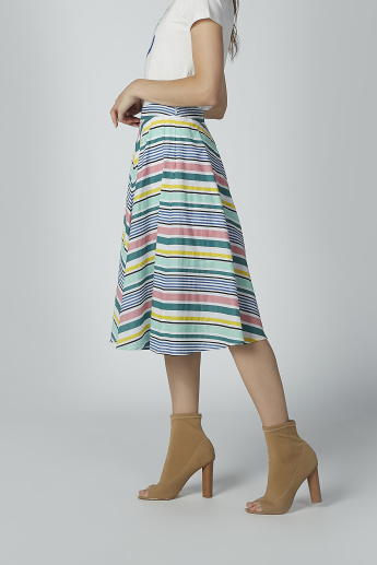Striped Midi A-line Skirt