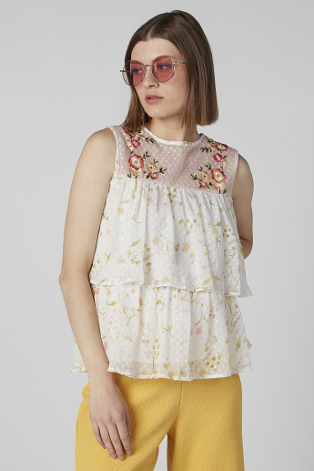 Embroidered Sleeveless Top with Round Neck