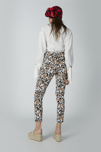 Animal Printed Trousers with Flexi Waist and Pocket Detail