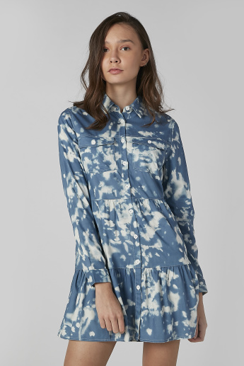 Printed Tunic with Long Sleeves and Pocket Detail