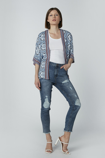 Printed Cardigan with 3/4 Sleeves