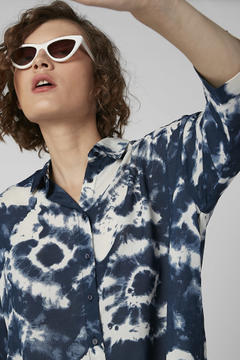 Printed Shirt with Collared Neck and Long Sleeves