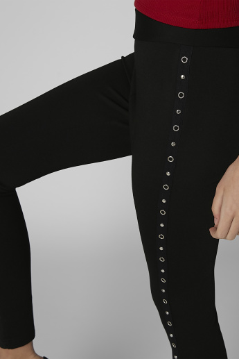 Plain High-Rise Leggings with Studded Detail