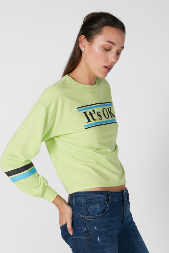 Printed Sweatshirt with Round Neck and Cuffed Long Sleeves