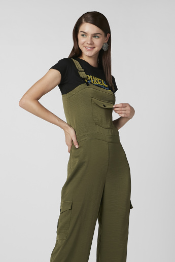 Plain Jumpsuit with Pocket Detail and Adjustable Straps
