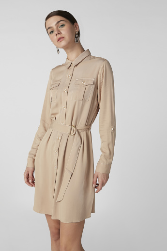 Plain Shirt Dress with Long Sleeves and Belt Loops